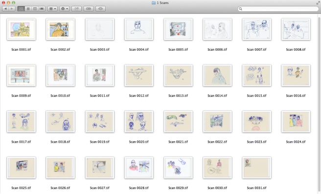 Art scans preview - folder showing thumbnails of 31 art scans.