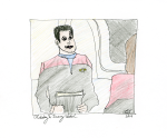 Chakotay and Janeway Sketch - ink, pencil, and coloured pencil