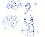 Star Trek sketch - shuttlecraft, Kira, communicator, Sisko and Dax, borg cube - ink