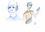 Spock and Data sketch - ink, pencil, and coloured pencil