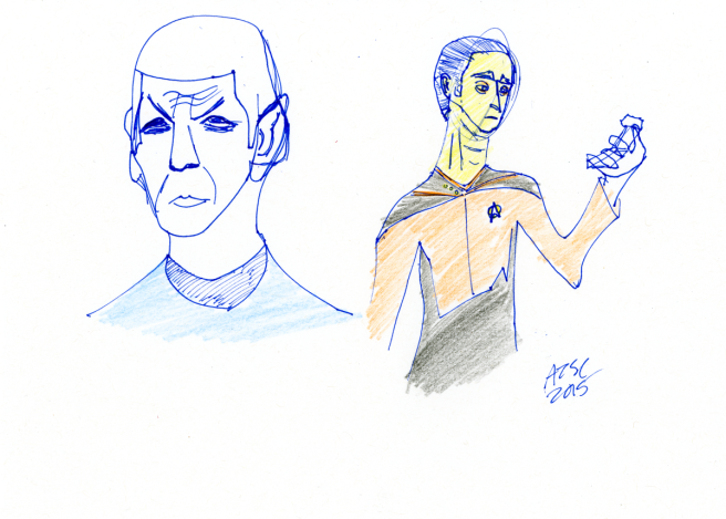 Spock and Data sketch - ink and coloured pencil