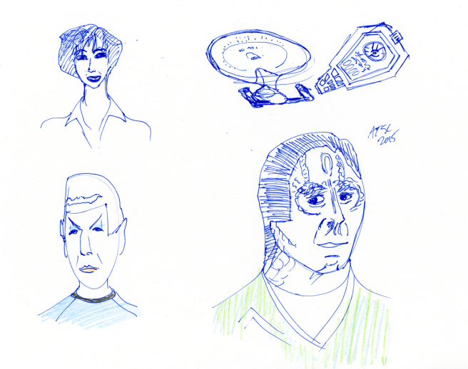 Star Trek Sketch - Enterprise, device, Garak, Spock, Nana Visitor