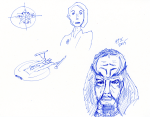 Star Trek Sketch - Ink; Kira, Klingon, NX Enterprise, Elite Force communicator bullseye