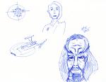 Star Trek Sketch - Ink; Kira, Klingon, NX Enterprise, Elite Force communicator bullseye