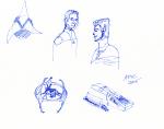 Star Trek sketch - ink, Klingon empire symbol, Bashir and Weyoun, Runabout, and Deep Space Nine