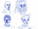 Star Trek Sketch - ink, Whoopi Goldberg, Star Trek movie alien, Spock, Sisko