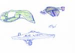 Star Trek ships sketch - ink, pencil, and coloured pencil - Romulan Warbird, Jem'Hadar fighter, Enterprise