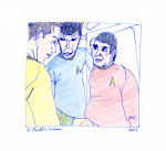 Mudd's Women - ink, pencil, and coloured pencil, Kirk, Spock, and Scotty