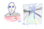 Picard and Enterprise Corridor sketch - ink, pencil, and coloured pencil