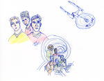 Star Trek sketch - ink, pencil, and coloured pencil - Kirk, Scotty and Uhura; DS9 cast, and Enterprise