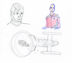 Star Trek sketch - Pencil, ink, and coloured pencil, McCoy, Picard, starship and Defiant