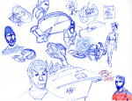 Star Trek sketch - Riker, Spacedock, Enterprise, Spock, Police Officer, DS9, Morn, Nebula-Class starship, Seven of Nine, panels, Defiant