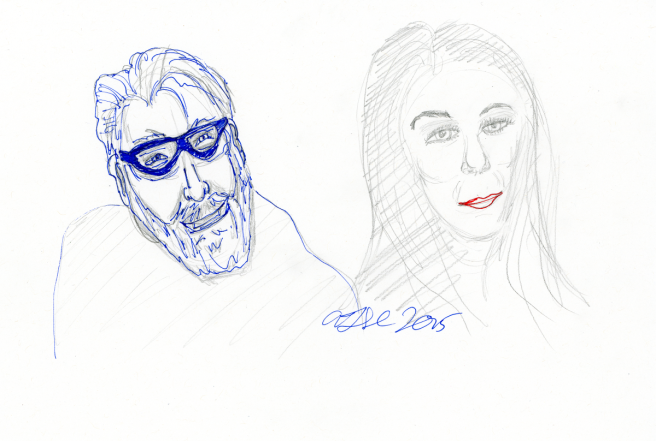 Trek Actors sketch - pencil and ink; Jonathan Frakes and Marina Sirtis