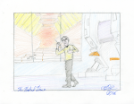 The Naked Time - pencil and coloured pencil; crewman in engine room
