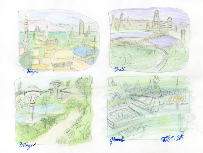 Worlds Sketch Paintings - pencil and watercolour pencil; Bajor, Trill, Betazed, and Qo'noS