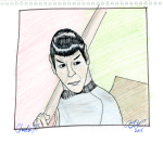 Charlie X - Spock with Vulcan Lute, pencil, coloured pencil and ink