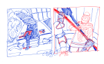 TNG Colour Sketches - blue and red ink; Picard in Shuttlebay and Riker sparring with his father