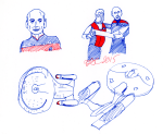 Picard and Kirk Captains and Enterprises Sketch - Red and blue ink