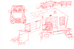 Cottage, car and other cottage bits - red ink