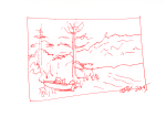 Boat on beach and trees - red ink