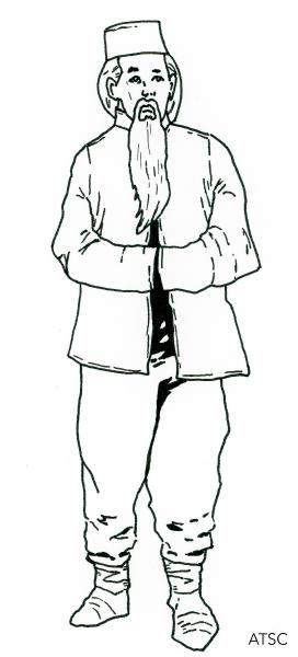 Oriental figure, man with beard - ink line art