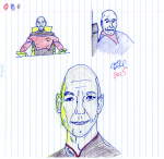 Picard Sketches - pencil, ink, coloured pencil, and highlighter