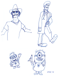 Minions, Patch Adams - blue ink