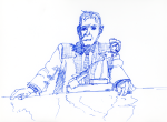 Deckard at Table with testing machine - blue ink