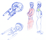 Ships, Excelsior-Class and Other, Kira and Dax - blue pen and coloured pencil