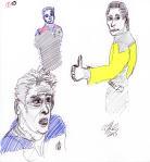 Star Trek Characters Sketch - Data, Chakotay, Bashir - ink, pencil, and highlighter