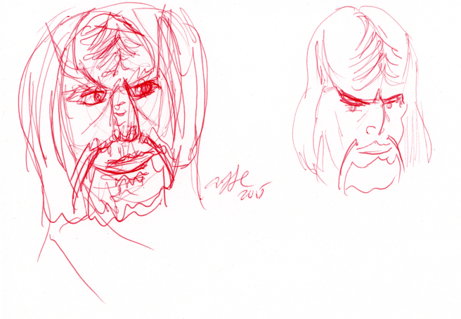 Klingon Sketches - red ink