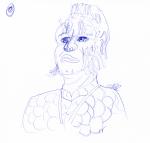 Neelix Sketch - blue ink portrait