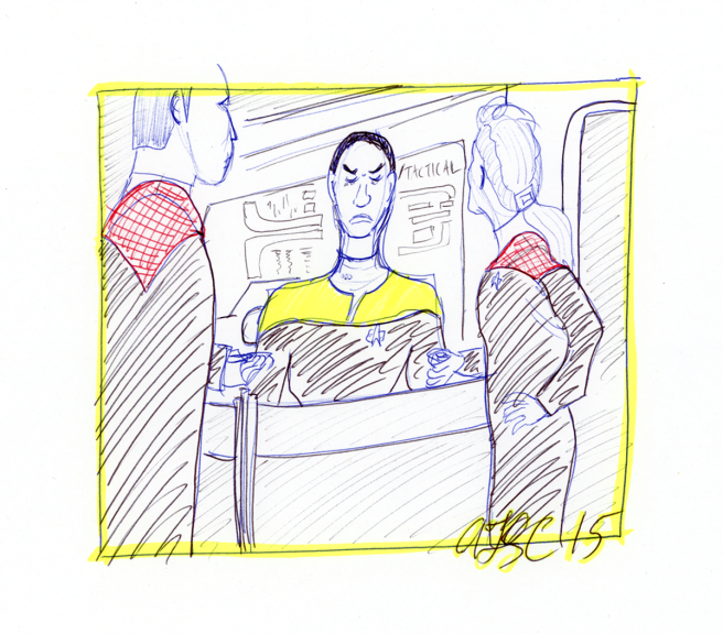 Tuvok, Janeway and Chakotay on the Bridge - ink, pencil and highlighter