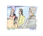 Kirk, Khan, and Marla McGivers sitting at a table - pencil, coloured pencil and ink