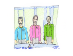 Court Martial Sketch - 3 Judges (including Commodore Stone)